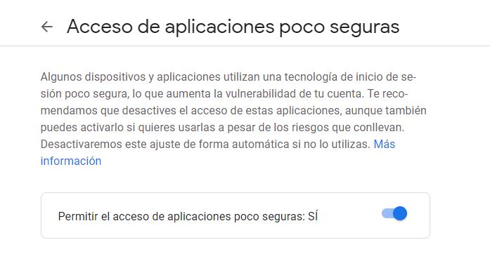 Permitir el acceso de aplicaciones poco seguras a una cuenta de Gmail