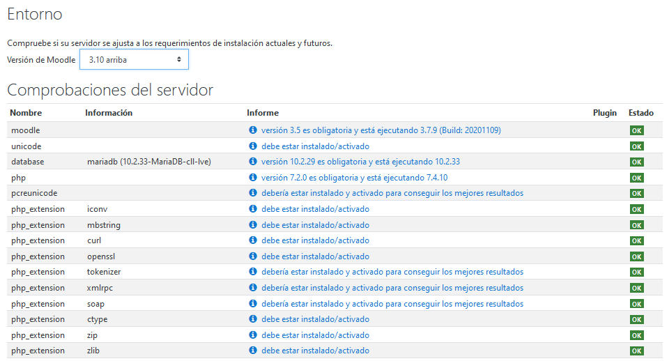 Comprobar los requerimientos del servidor para actualizar Moodle en la versión 3.10