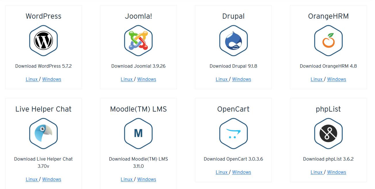 Módulos para descargar aplicaciones web con XAMPP