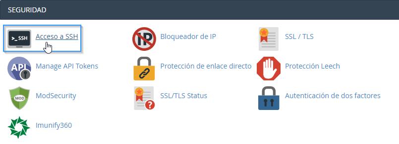 Abrir la herramienta de acceso a SSH
