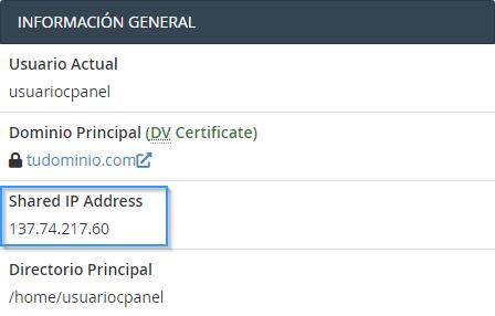 Obtener la IP de un plan de hosting