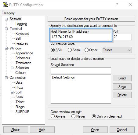 Configurar un hosting en Putty