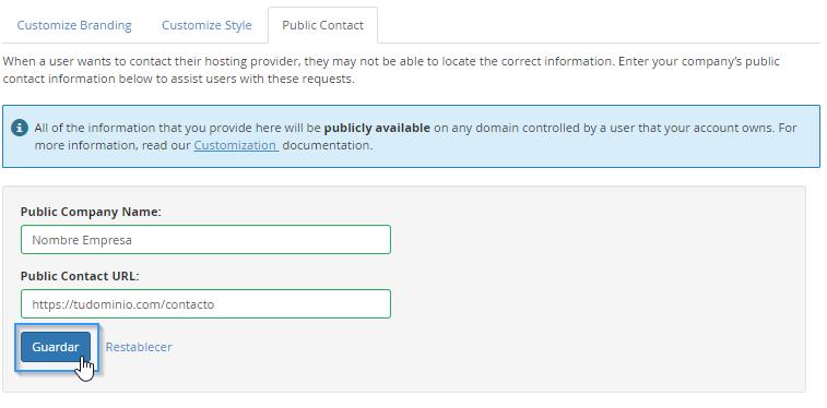 Personalización de contacto en WHM