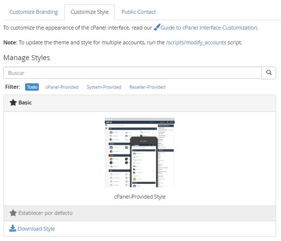 Customize Styke o personalizar estilo en WHM