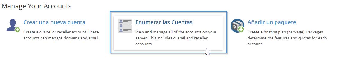 Acceder al listado de cuentas de cPanel a través del WHM