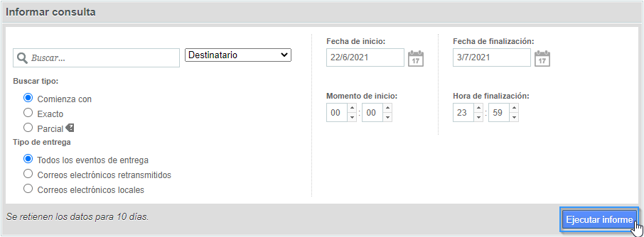 Generar un informe de entrega de correo electrónico en WHM