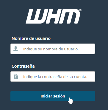 Iniciar sesión en WHM